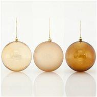 Plastové hnědo-zlaté koule, 8 cm - Vánoční ozdoby