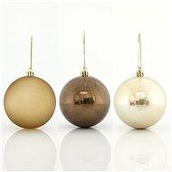 Plastové zeleno-jantarové koule, 8 cm - Vánoční ozdoby