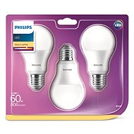 Philips LED 9-60W E27, 2700K, mléčná, set 3ks - LED žárovka