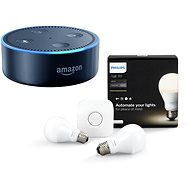 Philips Hue White 8.5W E27 starter kit + Amazon Echo Dot černý (2.generace) - LED žárovka
