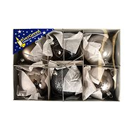 EverGreen Ball mix x6, LUX Box pr. 8 cm, silver-metal - Christmas decorations