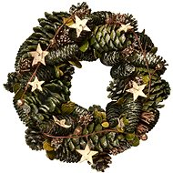 EverGreen Wreath of pine cones and stars pr. 28 cm, natural