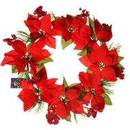 EverGreen Poinsettia wreath 8 kv., Dia.40cm, red
