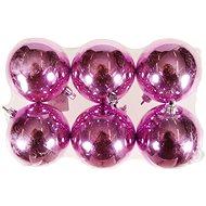 EverGreen® Koule vysoký lesk x 6 ks, průměr 5 cm, barva růžová - Vánoční ozdoby