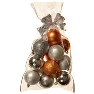 EverGreen® Sphere x 16 pcs, Various, dia. 6cm, Colour: Copper-silver - Christmas decorations