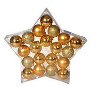 EverGreen® Koule x 20 ks, 3 druhy, průměr 6 cm, barva zlatá - Vánoční ozdoby