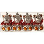 EverGreen® Teddy bear x 4 pcs, painted, 8 cm - Christmas decorations