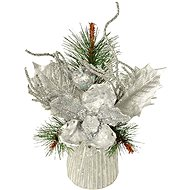 EverGreen® Stol. arrangement - branch with magnolia, height 23 cm, colour silver - Christmas decorations