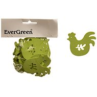 EverGreen Wooden Rooster 20 pcs, Colour: Green - Decoration