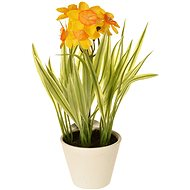 EverGreen Daffodil in a Pot, Height of 22cm, Yellow-orange Colour - Artificial Flower