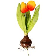 EverGreen Tulip with Bulb, Height of 25cm, Colour Orange-yellow - Artificial Flower