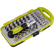 EXTOL CRAFT ratchet screwdriver with nuts and tips, set of 30pcs - Screwdriver