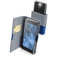 Cellularline Slide&Click XXXL s odklápěcí horní částí PU kůže modré  - Pouzdro na mobilní telefon