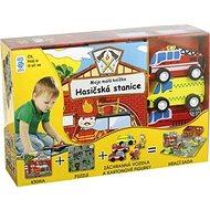 Hasičská stanice Moje malá knížka BOX: Kniha + puzzle + auta a figurky 6ks + hrací sada - Kniha