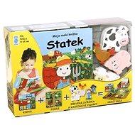 Statek Moje malá knížka BOX: Kniha + puzzle + zvířátka figurky 6ks + hrací sada - Kniha