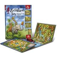 Kniha 4 zvířátkové hry: Leporelo s kostkou a figurkami - Kniha
