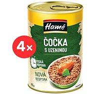 HAMÉ Čočka s uzeninou hotové jídlo 4 × 415 g - Konzerva