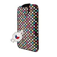 FIXED Soft Slim se zavíráním 5XL+ motiv Rainbow Dots - Pouzdro na mobilní telefon