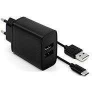 FIXED Smart Rapid Charge 15W s 2xUSB výstupem a USB/USB-C kabelem 1m černá - Nabíječka do sítě