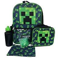 Minecraft - Creeper - batoh, láhev na pití, svačinový box s chladícím balíčkem a penál - Batoh