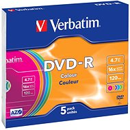VERBATIM DVD-R AZO 4.7GB, 16x, colour, slim case 5 ks - Média