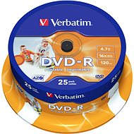Verbatim DVD-R 16x, Printable 25ks cakebox - Média
