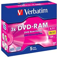 VERBATIM DVD-RAM 4.7GB, 3x, jewel case 5 ks - Média