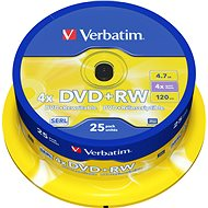 Verbatim DVD+RW 4x, 25ks cakebox - Média