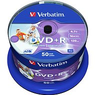 Verbatim DVD+R 16x, Printable 50ks cakebox - Média