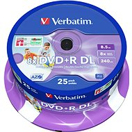VERBATIM DVD+R DL AZO 8.5GB, 8x, printable, spindle 25 ks - Média