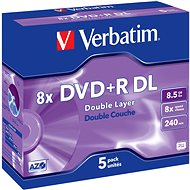 VERBATIM DVD+R DL AZO 8.5GB, 8x, jewel case 5 ks - Média