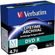 VERBATIM M-DISC DVD-R 4.7GB, 4x, printable, jewel case 5 ks - Média