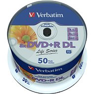 VERBATIM DVD+R DL AZO 8.5GB, 8x, printable, spindle 50 ks - Média