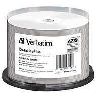 VERBATIM CD-R DataLifePlus 700MB, 52x, white thermal printable, spindle 50 ks