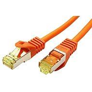 OEM S/FTP patchkabel Cat 7, s konektory RJ45, LSOH, 25m, oranžový