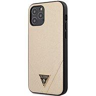 Guess Saffiano V Stitch pro Apple iPhone 12/12 Pro Gold - Kryt na mobil