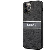 Guess PU 4G Printed Stripe Zadní Kryt pro Apple iPhone 12/12 Pro Grey