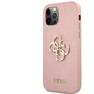 Guess PU Saffiano Big 4G Metal Logo Zadní Kryt pro Apple iPhone 12/12 Pro Pink
