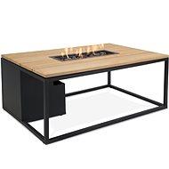 Stůl s plynovým ohništěm COSI-  Cosiloft 120 černý rám / deska Dřevěná - Zahradní stůl