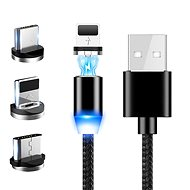Hishell 3in1 Magnetic Data & Fast Charging Cable 3A (USB-C + Lightning + Micro USB) černý - Datový kabel