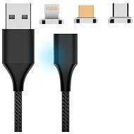 Hishell 3in1 Magnetic Charging Cable (USB-C + Lightning + Micro USB) černý - Napájecí kabel