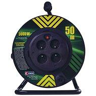 EMOS PVC kabel na bubnu s pevným středem – 4 zásuvky, 50m, 1,5mm2