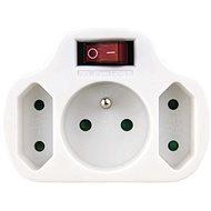 EMOS Rozbočovací zásuvka 2× plochá + 1× kulatá s vypínačem, bílá - Zásuvka