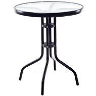 Happy Green Stůl kovový se skleněnou deskou 60 cm, černý - Zahradní stůl