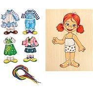 Woody Šněrovací šatní skříň - Holčička - Didaktická hračka