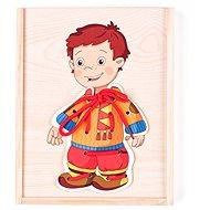 Didaktická hračka Woody Šněrovací šatní skříň - Chlapeček