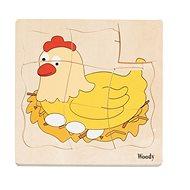 Woody Puzzle na desce - Vývoj slepice - Puzzle