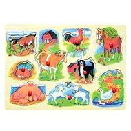 Woody Puzzle na desce - Farma s mláďaty - Puzzle