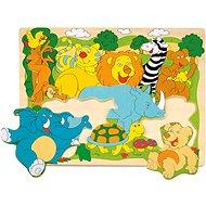 Woody Puzzle na desce - Veselá africká zvířátka - Puzzle