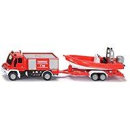 Siku Blister – Požární vozidlo Unimog s člunem - Kovový model